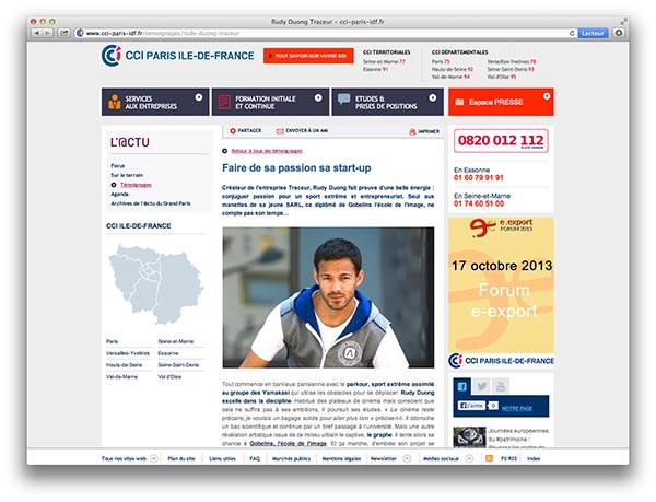 Site CCI-Paris Ile-de-france - Rudy Duong TRACEUR